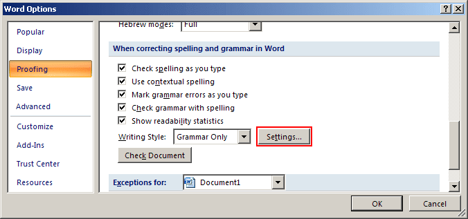 proofing in Word 2007