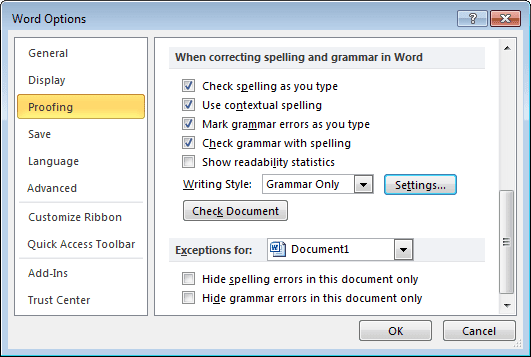 Proofing tab in Word 2010