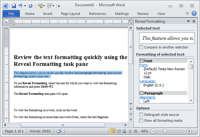 Reveral pane in Word 2010