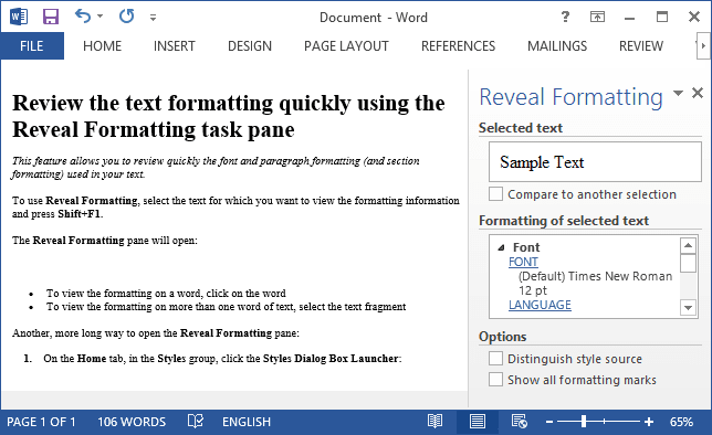 Reveral pane in Word 2013
