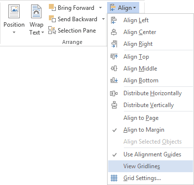 Drawing Tools Align in Word 2013