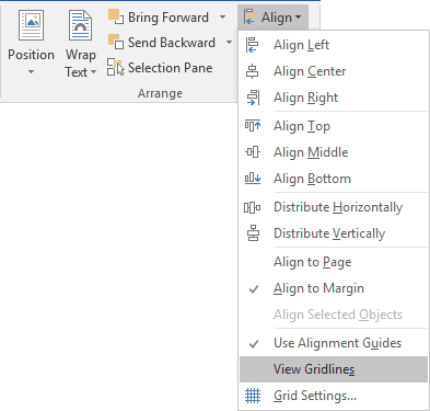 Drawing Tools Align in Word 2016