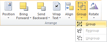 Arrange group in Word 2010