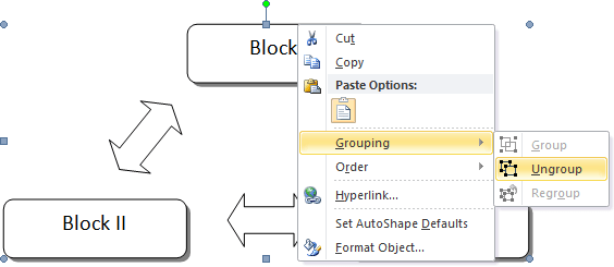 Grouping popup in Word 2010
