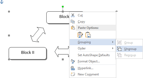 Grouping popup in Word 2013