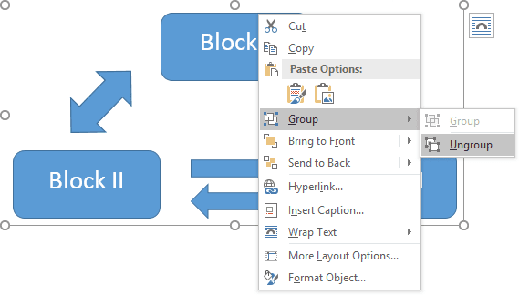 Grouping popup in Word 2016