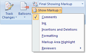 Show Markup in Word 2007