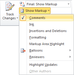 Show Markup in word 2010