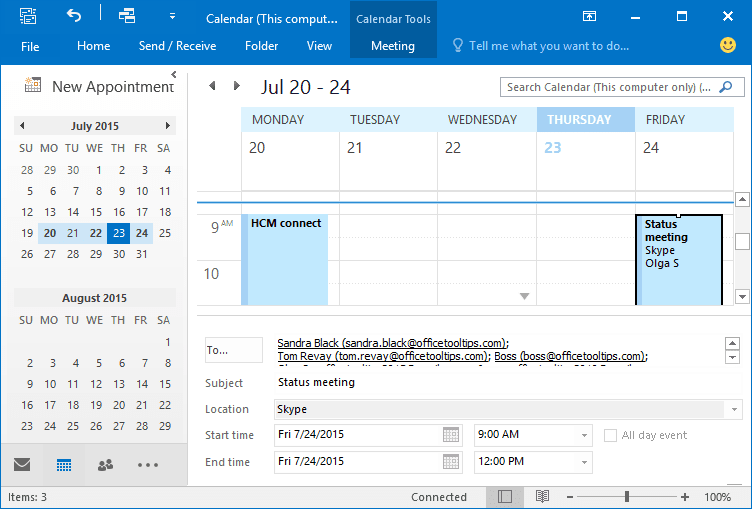 Calendar's Reading Pane in Outlook 2016