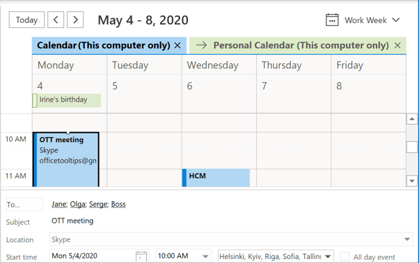 Calendar's Reading Pane in Outlook 365