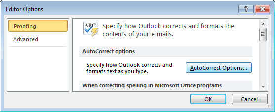 Editor Options Outlook 2010