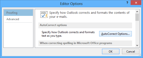 Editor Options Outlook 2013