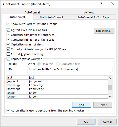 AutoCorrect options in Outlook 365