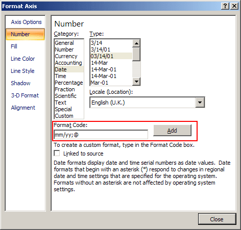 Add Format Code in Excel 2007