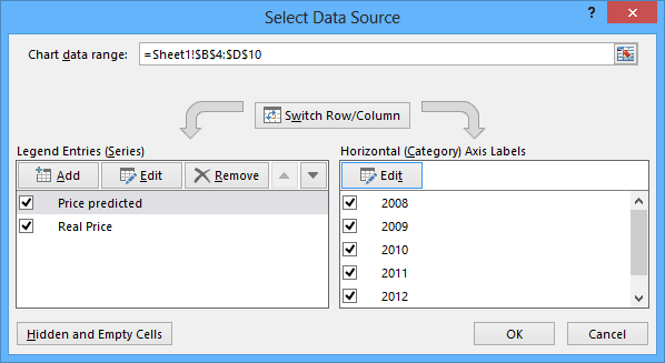 Select Data Source in Excel 2013