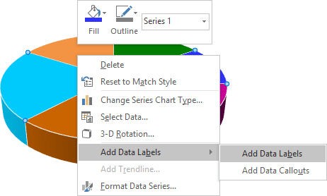 popup menu in Excel 2016