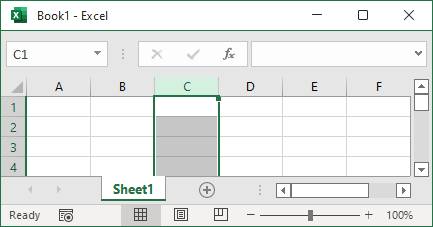 Selects the entire column in Excel 365