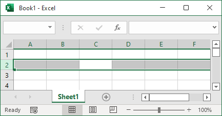 Selects the entire row in Excel 365