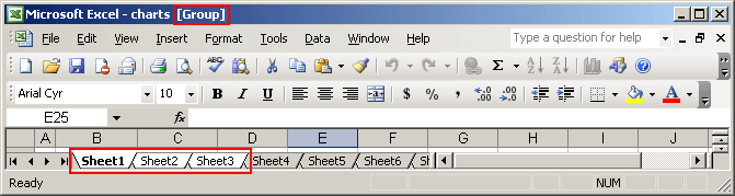 Grouped sheets in Excel 2003