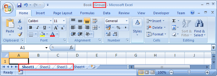 Grouped sheets in Excel 2007