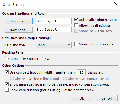 Other Settings in Outlook 365