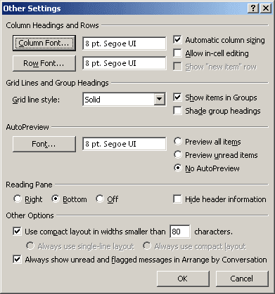 Other Settings in Outlook 2007