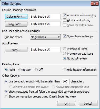 Other Settings in Outlook 2010