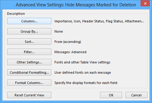 Advanced View Settings in Outlook 2013
