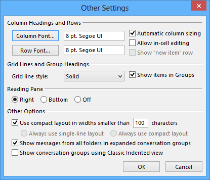 Other Settings in Outlook 2013