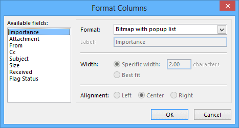 Format Columns in Outlook 2013
