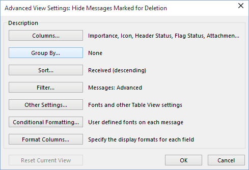 Advanced View Settings in Outlook 365