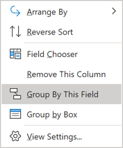 grouping popup menu in Outlook 365