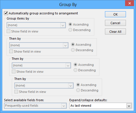 Group By in Outlook 2013