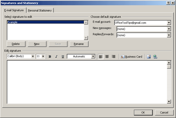Signatures and Stationery in Outlook 2007