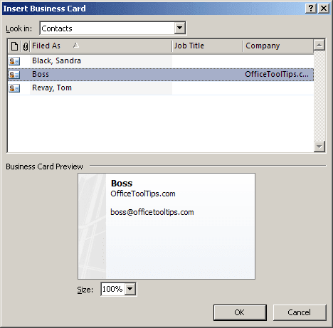Insert Business Card in Outlook 2007
