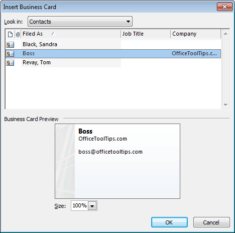 Insert Business Card in Outlook 2010