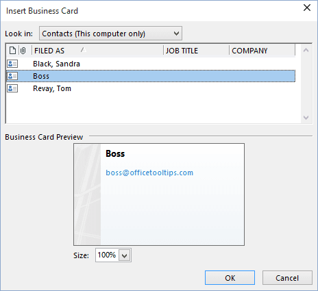 Attaching business cards to all outgoing messages signatures and stationery in outlook 2016 reheart Gallery