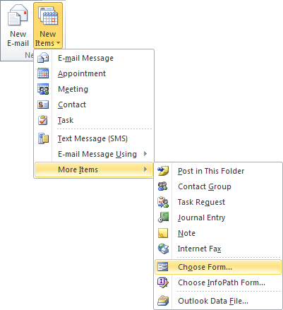 Choose Form in Outlook 2010