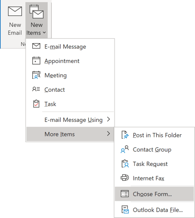 Choose Form in Outlook 365