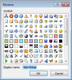 Rename the group in Outlook 2010