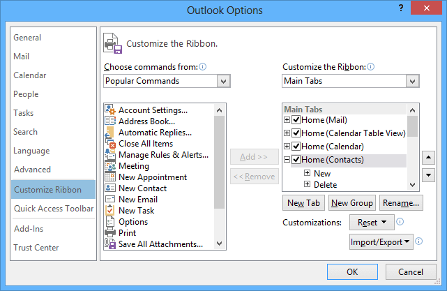Customize the Ribbon in Outlook 2013