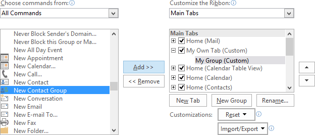 Add command in the group in Outlook 2016
