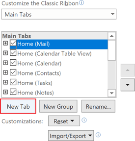 New Tab in Outlook 365