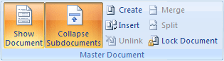Master Document in Word 2007