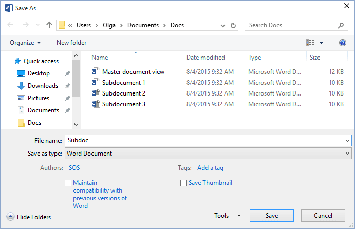 Save As in Word 2016
