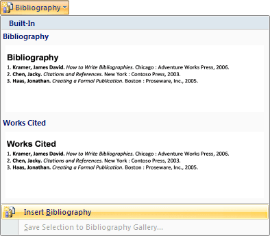 Bibliography in Word 2007