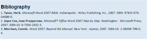 example of Bibliography in Word 2007