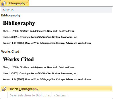 Bibliography Word 2010