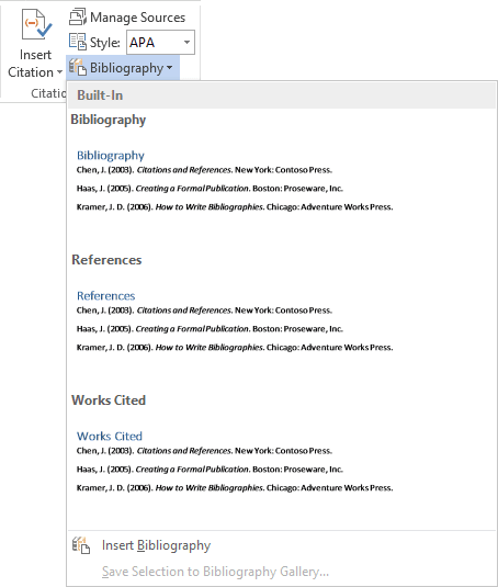 Bibliography Word 2013