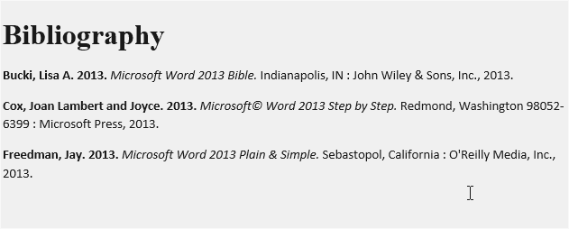 example of Bibliography in Word 2013